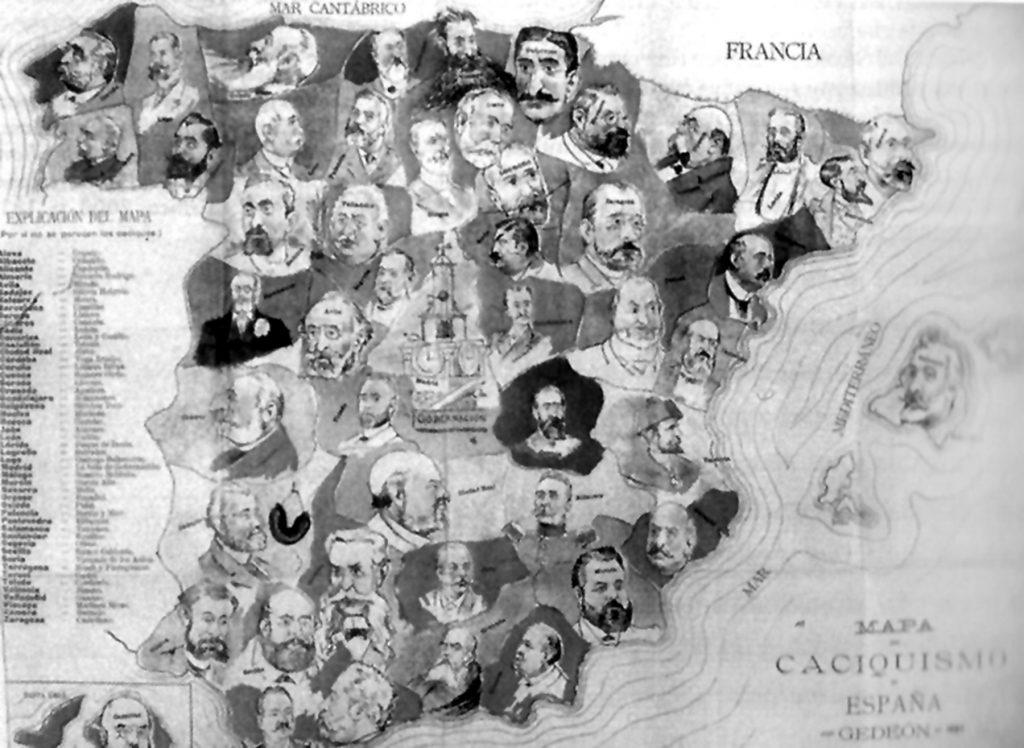 Gedeón, revista satírica editada en Madrid, insertó este mapa del caciquismo en su almanaque para 1898